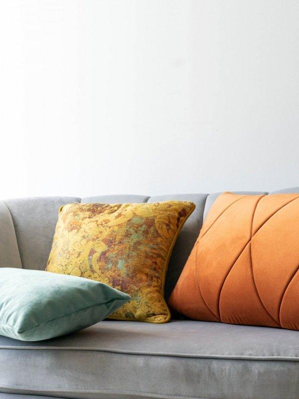 Miętowo-rudy zestaw poduszek Velvet + Gold + Touch