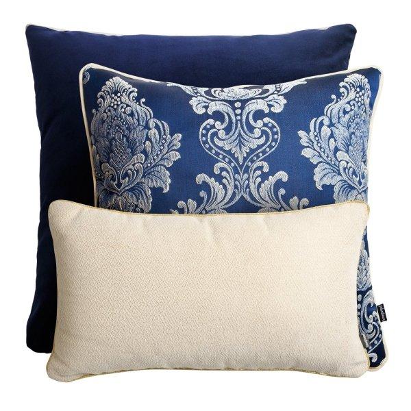Granatowo kremowy zestaw poduszek dekoracyjnych