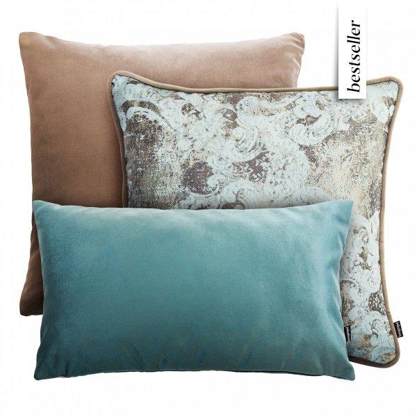 Beżowo mietowy zestaw poduszek dekoracyjnych Velvet+Gold