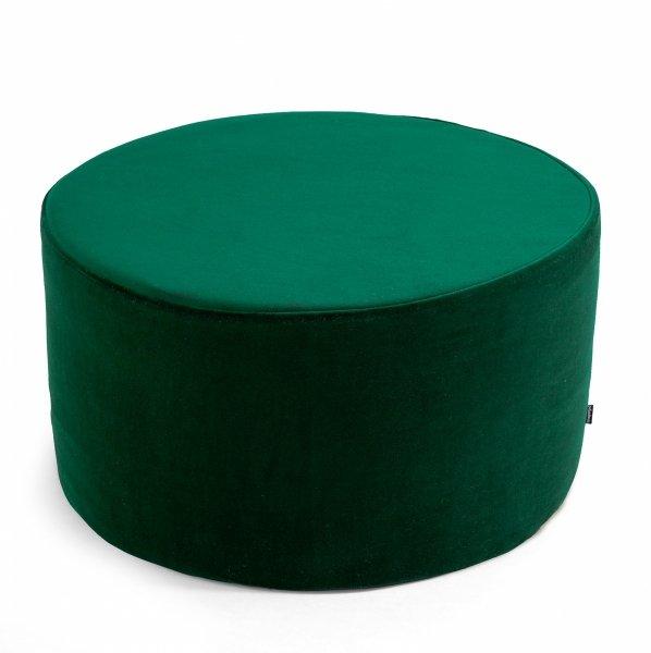 Duża ciemno zielona pufa welurowa 45x35