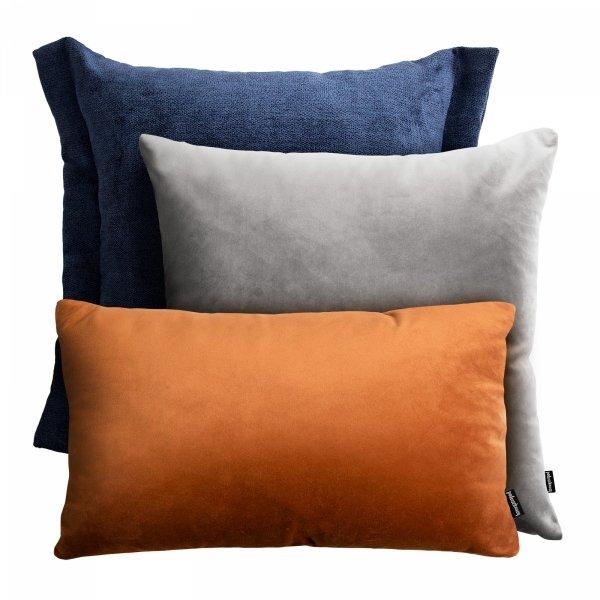 Granatowo rudy zestaw poduszek dekoracyjnych