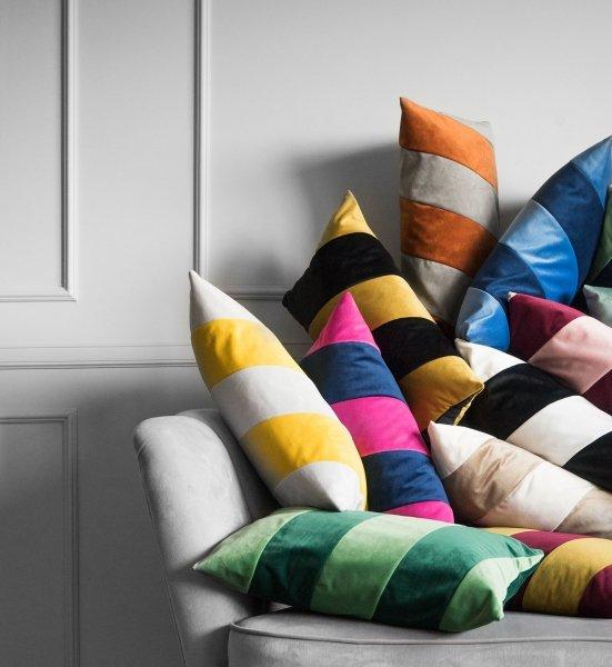Stripes granatowo różowa poduszka dekoracyjna 50x30