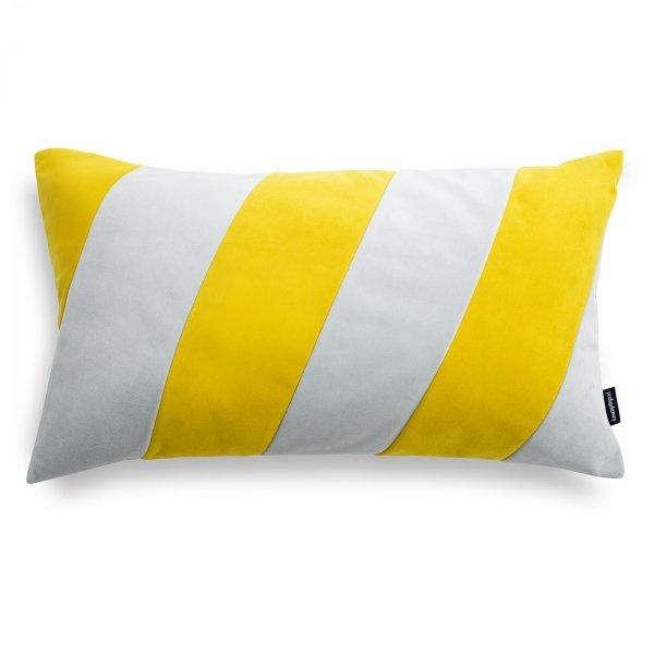 Stripes szaro żółta poduszka dekoracyjna 50x30