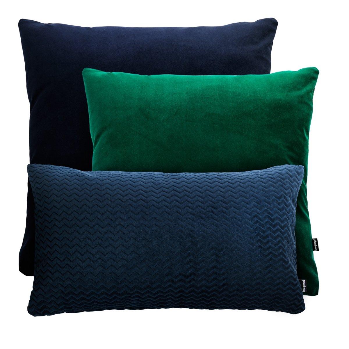Granatowo zielony zestaw poduszek dekoracyjnych