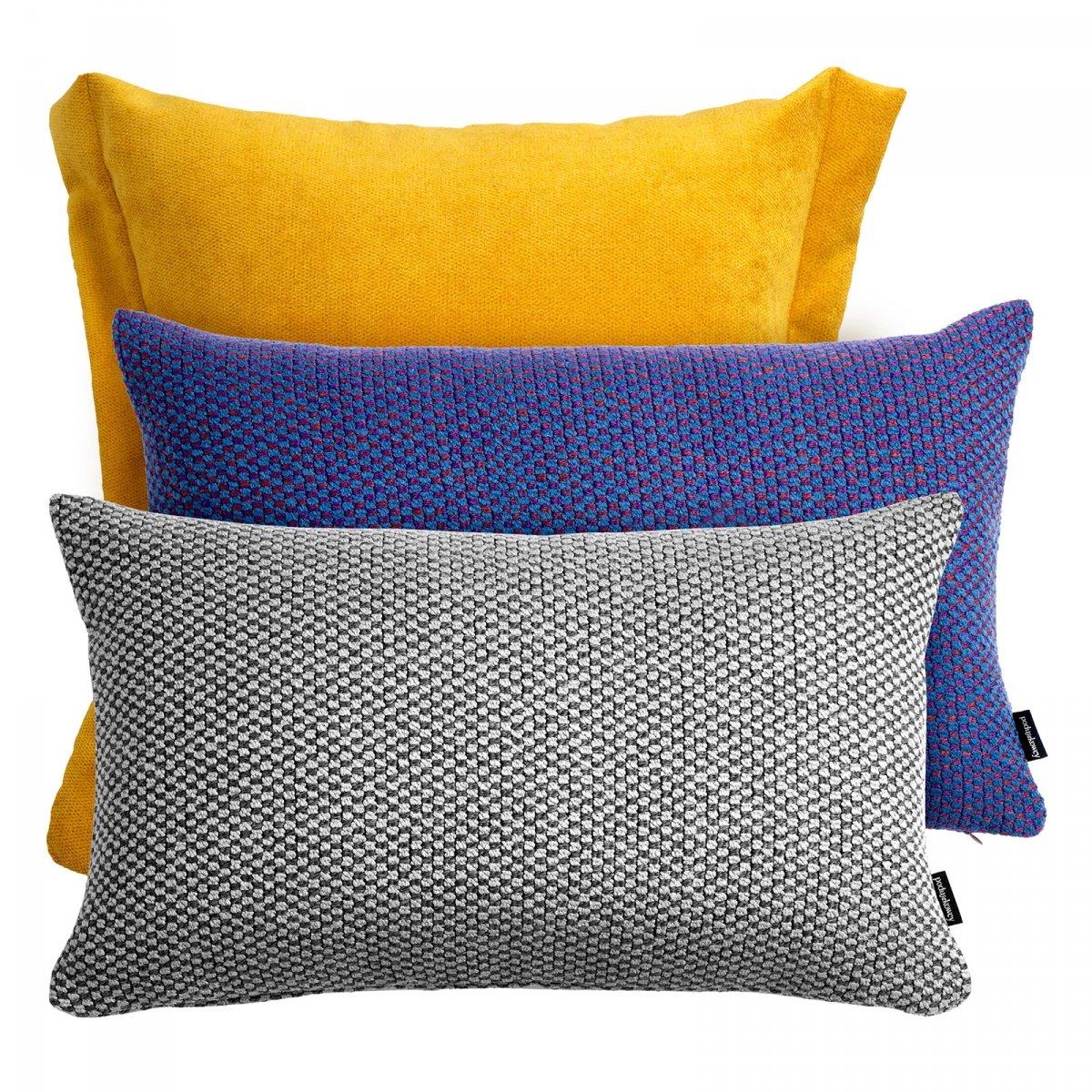 Żółto fioletowo szary zestaw poduszek Pepper + Ori