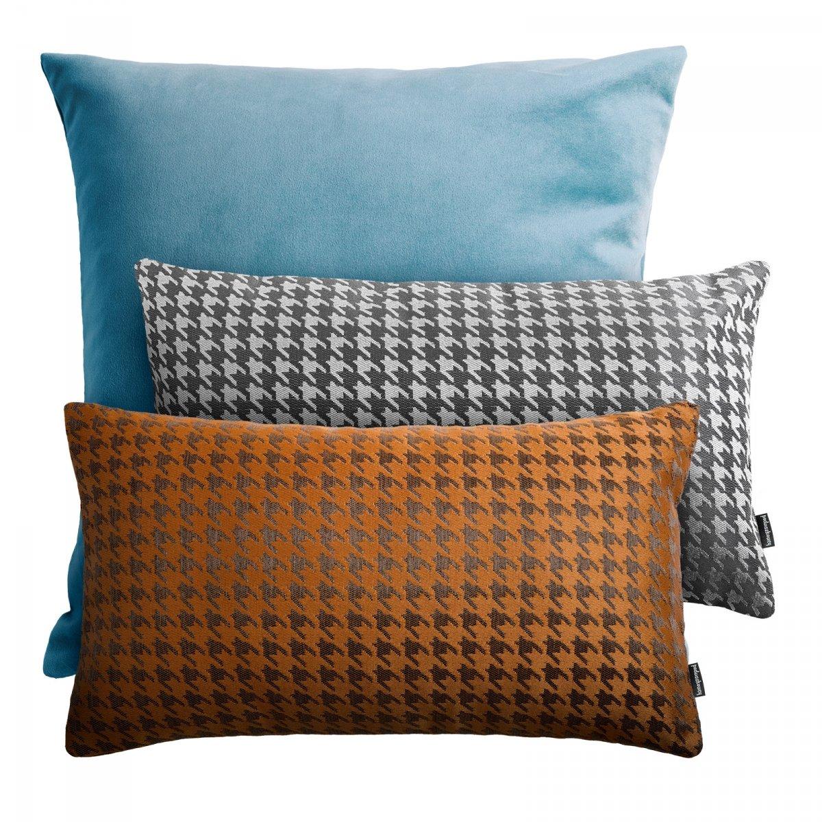 Niebiesko rudy zestaw poduszek dekoracyjnych