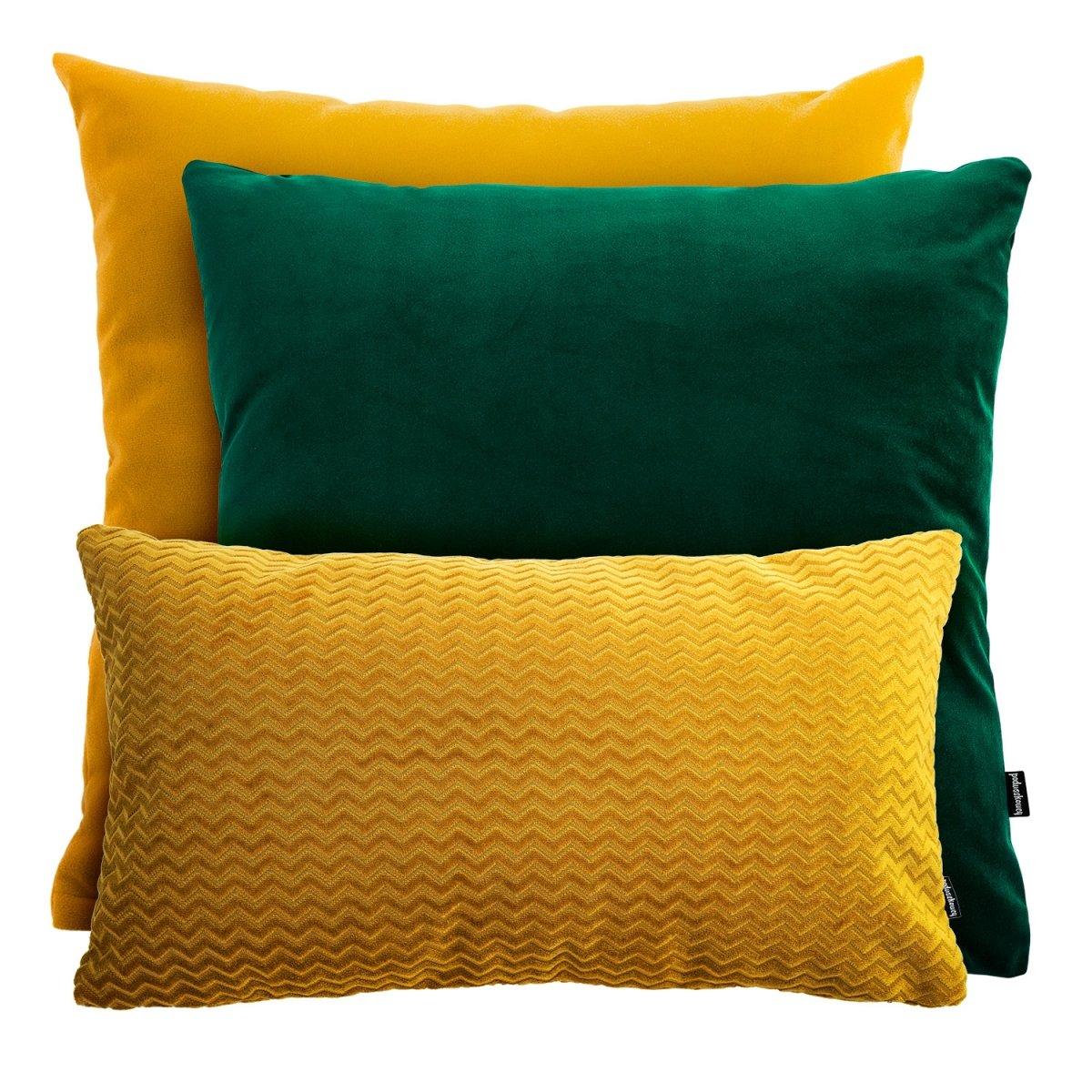 Miodowo zielony zestaw poduszek dekoracyjnych