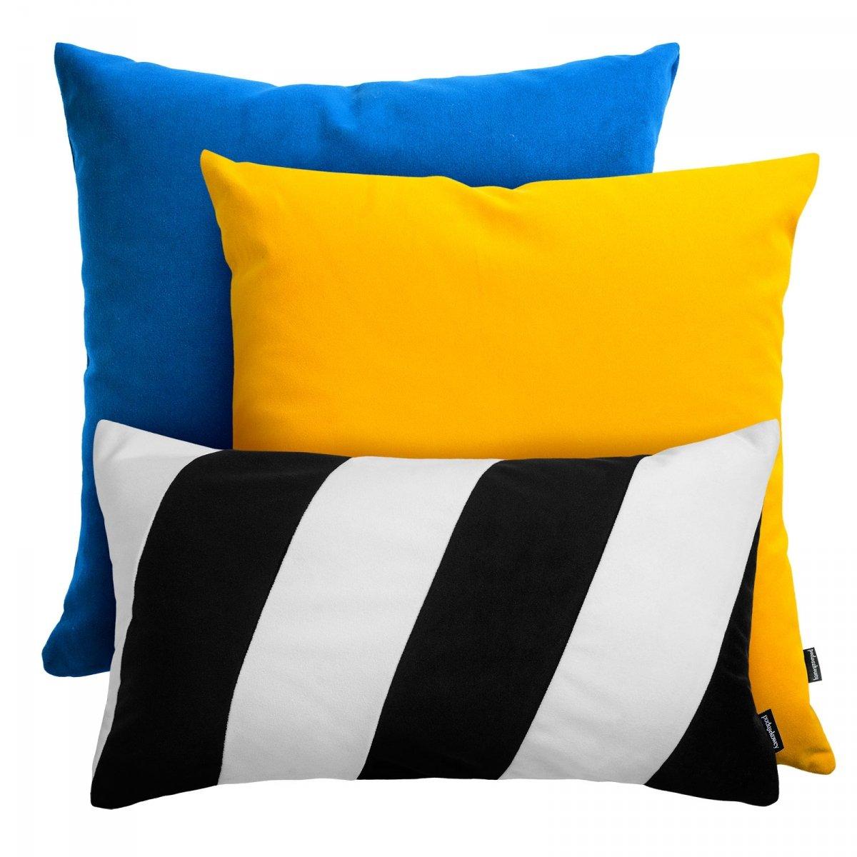 Niebiesko żółty zestaw poduszek Pram + Stripes