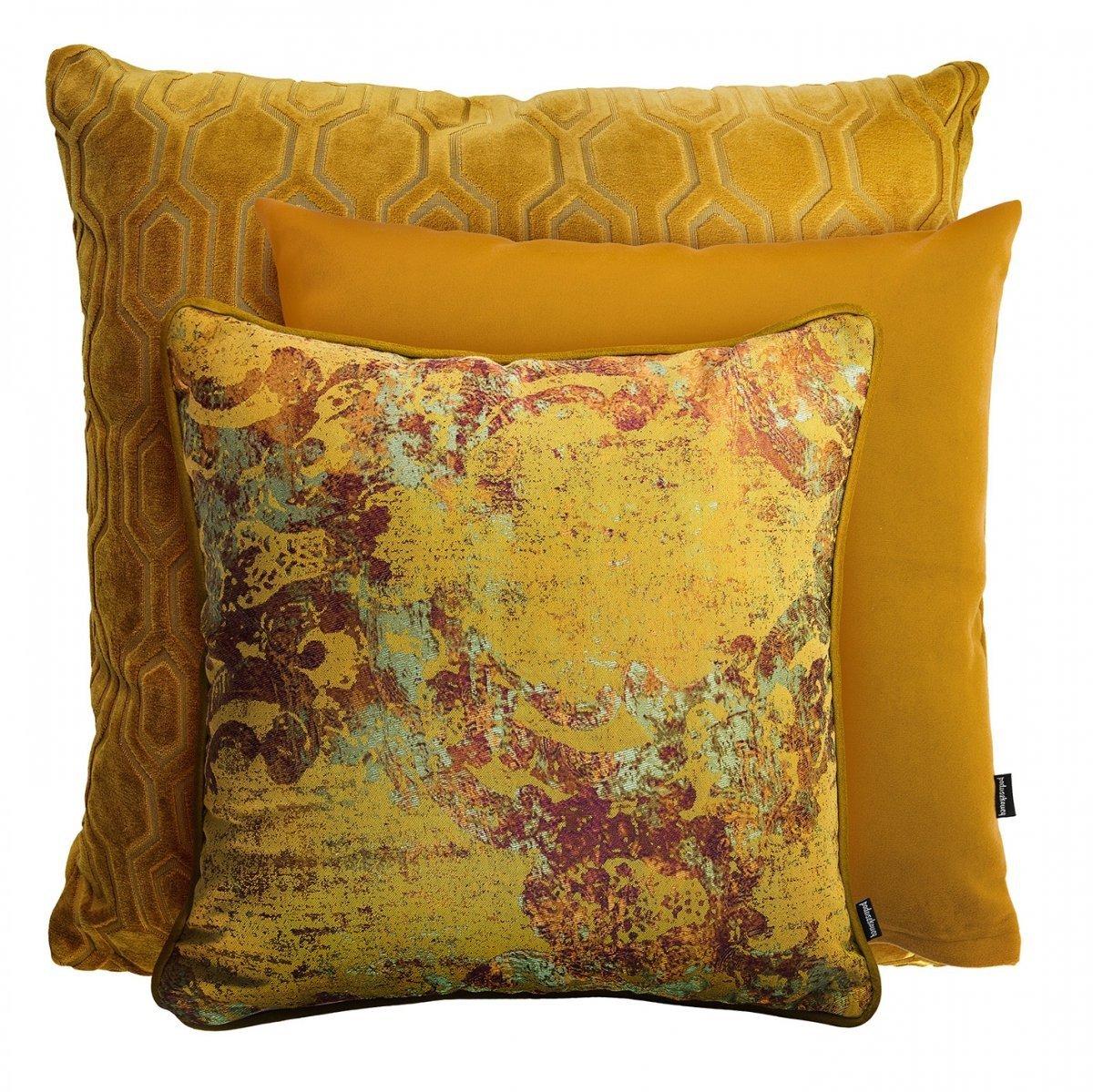 Miodowy zestaw poduszek dekoracyjnych Honey+Pram+Gold