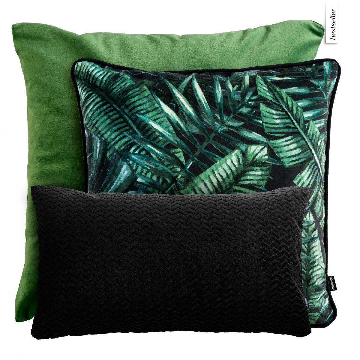 Czarno- zielony zestaw poduszek dekoracyjnych Liście