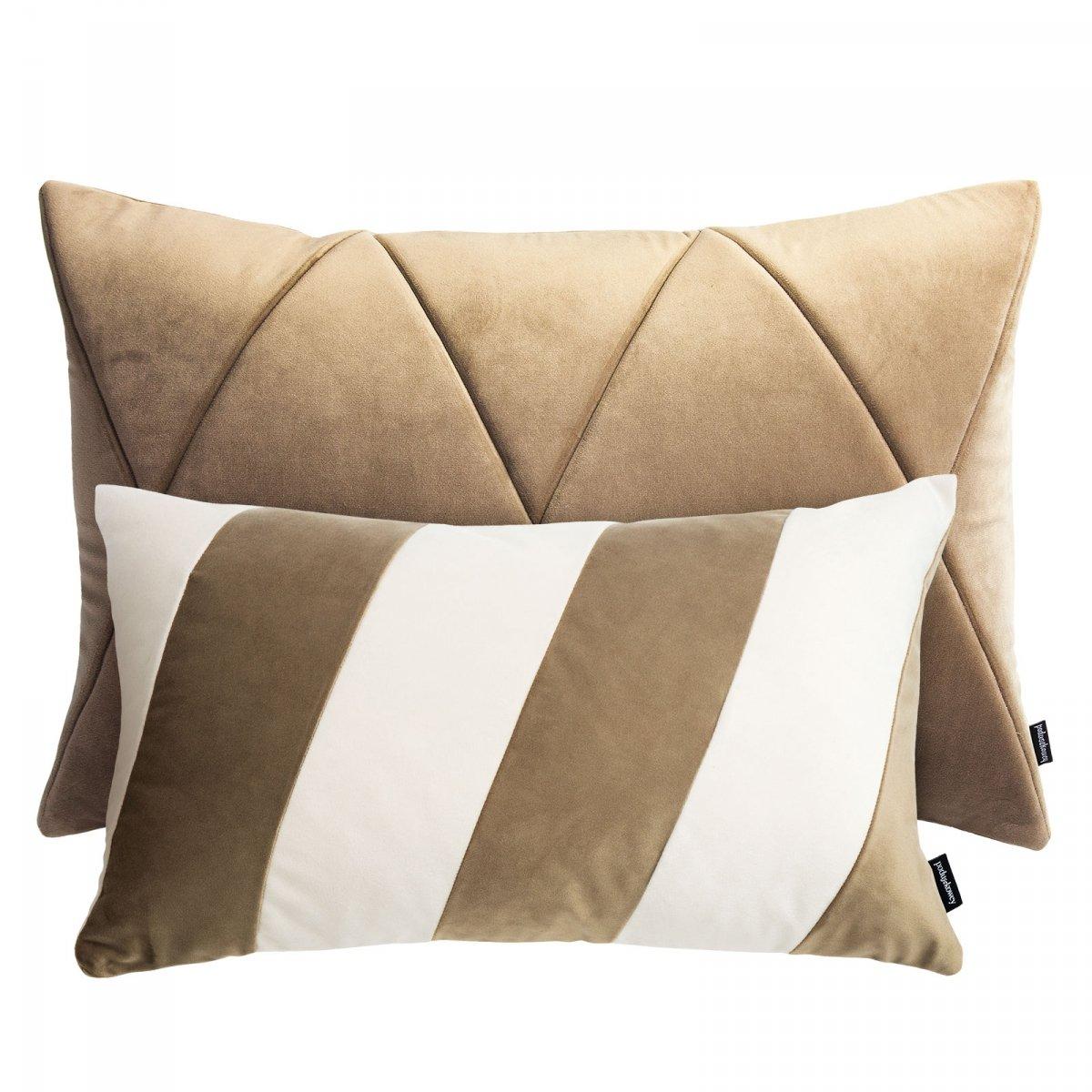 Beżowy zestaw poduszek dekoracyjnych Touch + Stripes