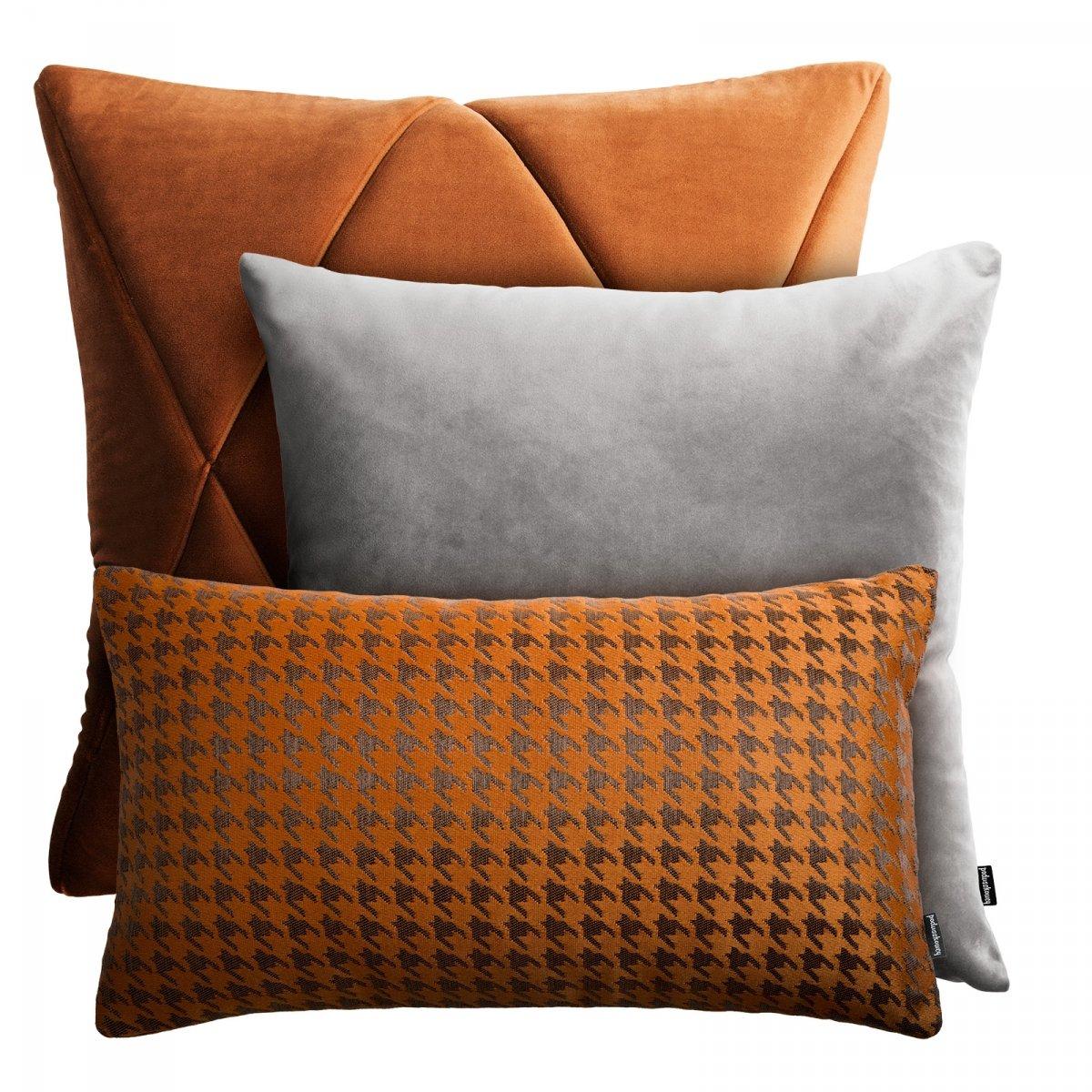 Szaro rudy zestaw poduszek dekoracyjnych Velvet + Pepitka