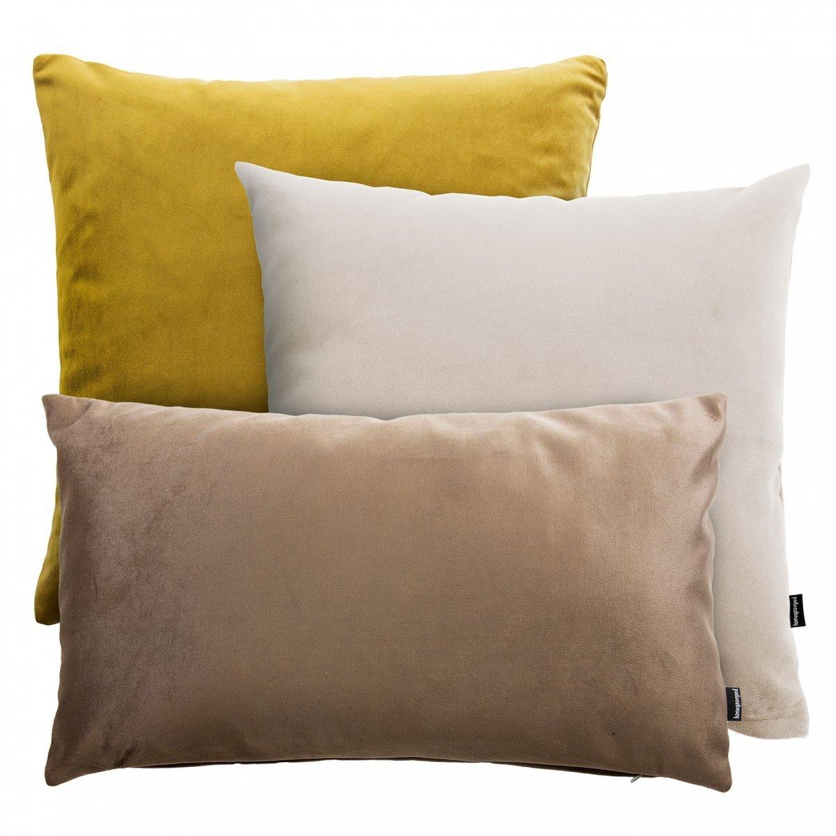 Złoto-beżowy zestaw poduszek Velvet