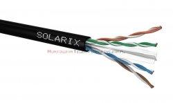 SOLARIX kabel U/UTP, drut, zewnętrzny suchy, czarny, kat.6