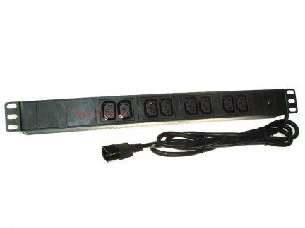 Listwa zasilająca 19 8 gniazd C13 UPS, dioda LED, 3m, wtyk wejściowy UPS C14