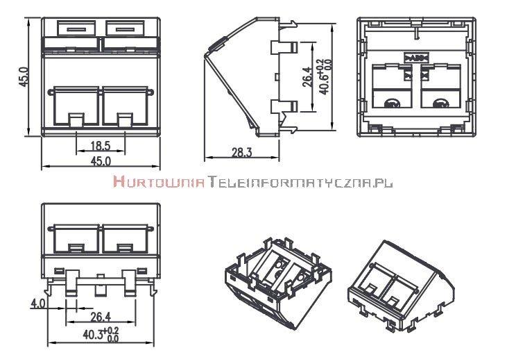 FIBRAIN DATA adapter kątowy 2mod. 2 x RJ45 z plakietką opisową i klapką.