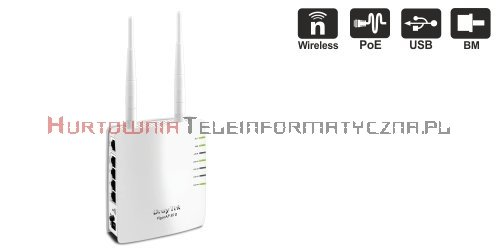 DRAYTEK Access Point Vigor AP810 2,4Ghz N 300Mbps, 4x10/100, 1x10/100PoE, USB