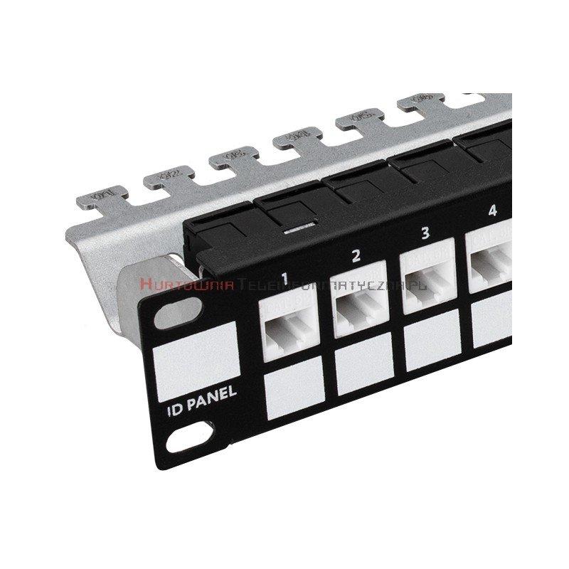 Patch Panel modularny z półką 1U na 24 moduły keystone, niewyposażony, czarny