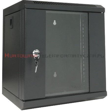 """Szafa 10"""" wisząca, 6U 300, drzwi metal/szkło, czarna"""