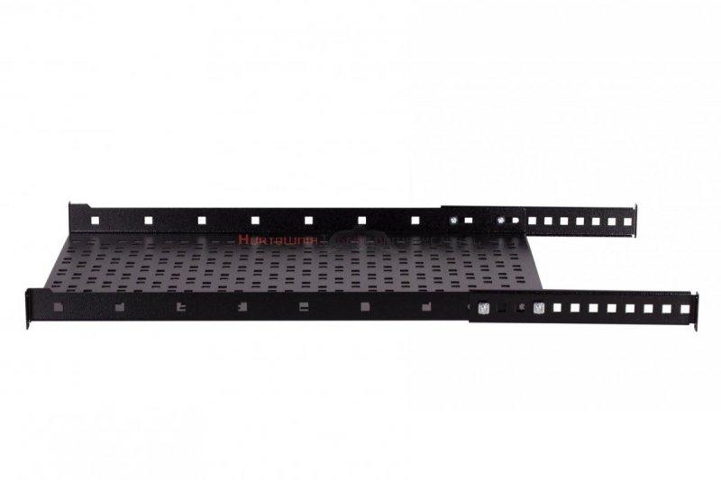 """SABAJ Półka stała 19"""", 1U, o gł. 650 mm., mocowana w czterech punktach, czarna"""