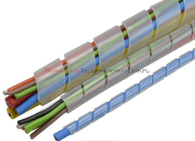 Organizator spiralny owijka na kable, fi10mm / 10m transparentny