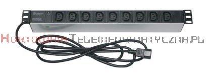 """Listwa zasilająca 19"""" 9 gniazd C13 UPS, dioda LED, 3m, wtyk wejściowy UPS C14"""
