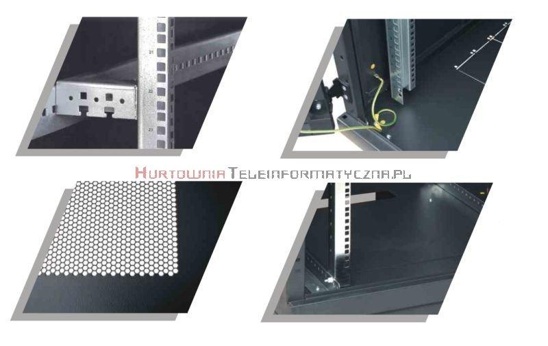BKT Serwerowa szafa ramowa stojąca TOP II 45U, 800/1000/2120, szer./gł./wys. mm. drzwi perforowane, RAL 7035 ( konstrukcja spawana - nośność 1000 kg )