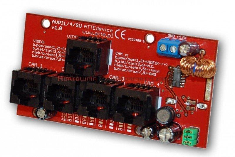 ATTE Moduł zasilania i transmisji video dla 4 kamer wraz z modułem podnoszącym napięcie – wej. 4xRJ45, wyj. 1XRJ45