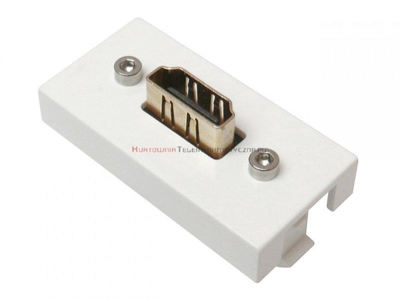 Moduł HDMI MOSAIC 22.5x45 biały, przelotowy, prosty