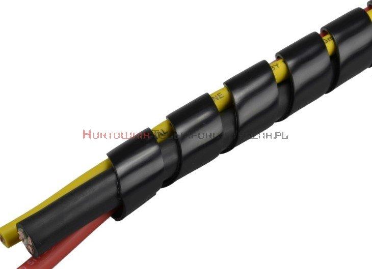 Organizator spiralny owijka na kable, fi25mm / 10m czarny