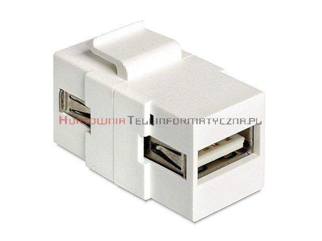 Moduł keyston USB 2.0, wtyk A (przelotowy), biały