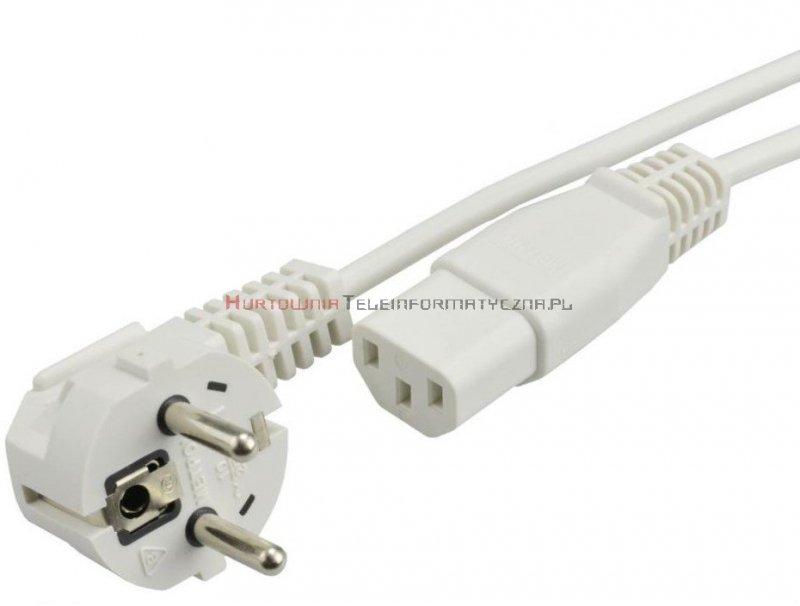 Kabel zasilający komputerowy z uziemieniem 230/C13 - 1,5m, biały