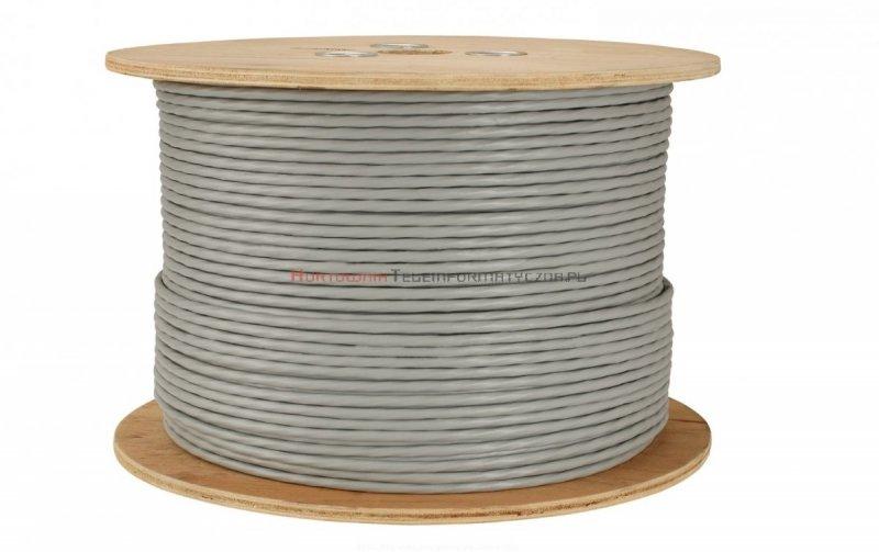 SOLARIX kabel U/UTP, drut, PVC Eca, szary, kat.6 - 500m