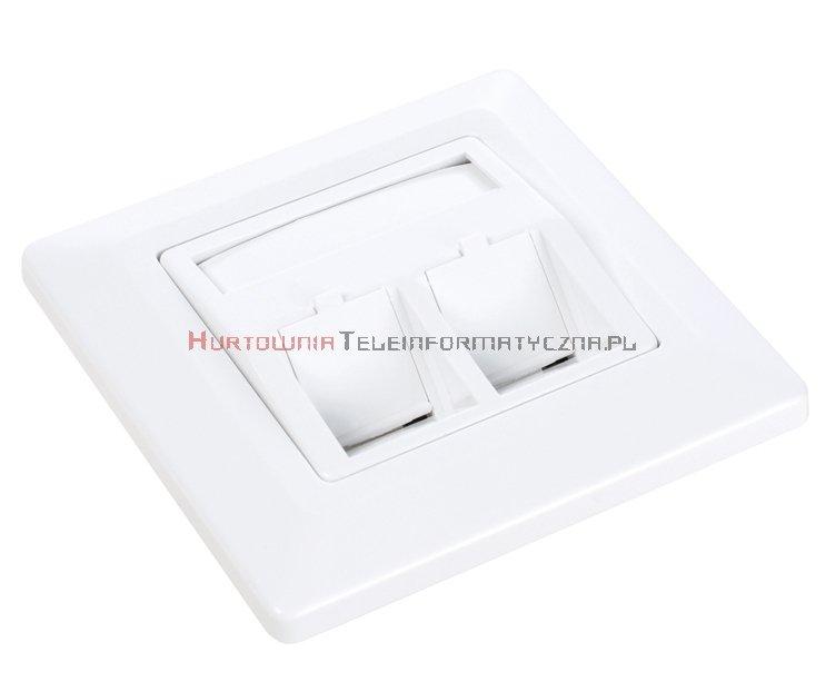 SOLARIX ramka/gniazdo modularne na 2 keystony, biała