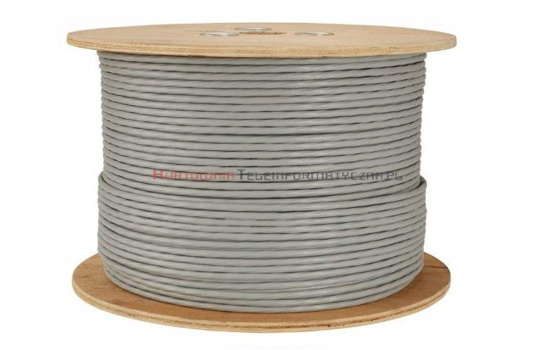 SOLARIX kabel F/FTP, drut, LSOH Dca, szary, kat.6A - 500m