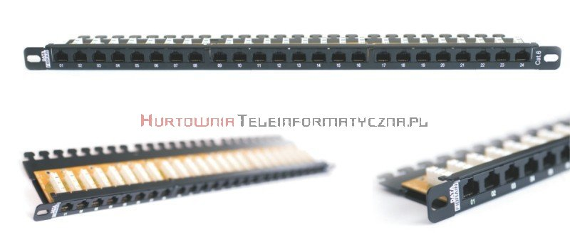 FIBRAIN DATA Quick UTP Patch Panel 0,5U 24 ports RJ45 Kat.6+ z półką