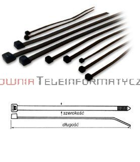 Opaska kablowa czarna UV 4,8x370 (100szt.)