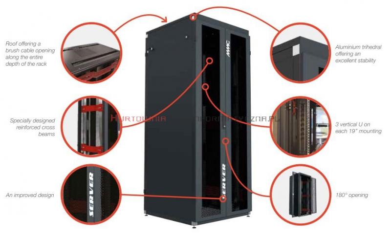"""MMC Szafa RACK Serwer 19"""" stojąca 42U 800x1000, 1000kg, drzwi dwuskrzydłowe perforowane, czarna"""