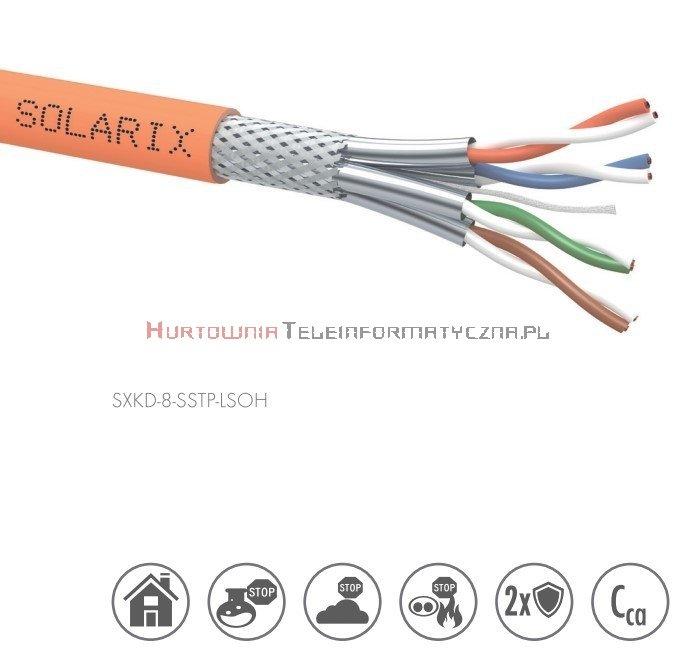 SOLARIX kabel S/FTP 2000MHz, drut, LSOH Cca, pomarańczowy, kat.8 - 500m