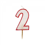 Świeczka urodzinowa na tort cyfra z brokatem 2
