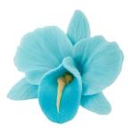 Storczyk kwiat cukrowy na tort 6cm niebieski 1szt
