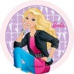 Modecor - opłatek na tort okrągły Barbie w żakiecie 14,5 cm