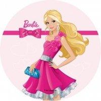 Opłatek na tort okrągły Barbie Kokarda
