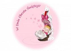 Opłatek na tort na chrzest okrągły Bocian  z dziewczynką