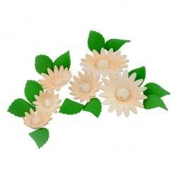 Zestaw cukrowe kwiaty na tort RUMIANEK z listkami ECRU