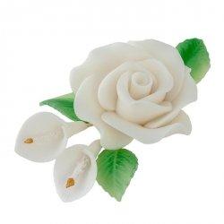 Zestaw cukrowe kwiaty RÓŻA MAX + KALIE z listkami BIAŁE