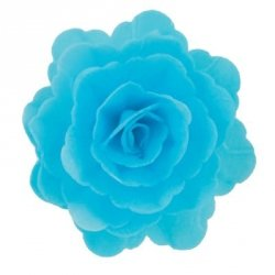 Róża chińska waflowa na tort duża (7cm) niebieska 15szt