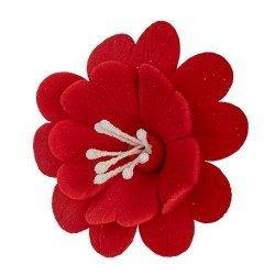 FUKSJA kwiat cukrowy na tort 6,5cm CZERWONY 1szt
