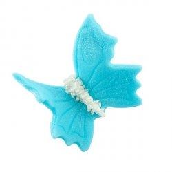 Motylki cukrowe na tort duże niebieskie 3D 50szt