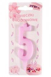 Różowa świeczka urodzinowa na tort cyfra 5